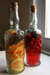 Learn how to infuse vodka & other spirits here. Little pretty bottles filled with the infused alcohol make really chic party favors or holiday gifts