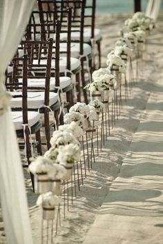chic, simple, flowers in cans #ceremony decor