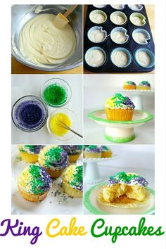 King Cake Cupcakes - Perfect for Epiphany and Mardi Gras! - Don't miss this recipe for King Cake Cupcakes with vanilla frosting! They're the perfect idea f - Mardi Gras Food, Mardi Gras Party, Mardi Gras Activities, Crawfish Party, King Cake Recipe, Mardi Gras Decorations, Fun Desserts, Holiday Recipes, Holiday Ideas