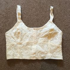 WHITE LACE FRONT CROP TOP Brand new, never worn. Lace front with elastic back. Adjustable straps. Also have a mint green one available. Lottie & Holly Tops Crop Tops