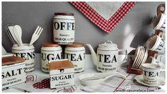 vajillas vintage bonitas baratas online toscana. Accesorios cocinas retro industrial rusticos ceramica madera blanco marron beige botes, azucar, sal, juegos cafe...