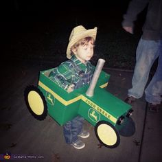 Holly: This is my son. He is obsessed with all tractors but more specifically John Deere. I asked what he wanted to be for Halloween & he said a tractor. Thinking...