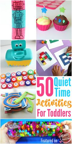 50 quiet time activities for toddlers and preschoolers. Busy bags, quiet books, educational games for preschoolers and so much more!