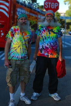 Old Hippie Dudes never fade away--their tie-dye gets even brighter!
