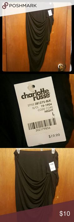 NWT Charlotte Russe asymmetrical skirt Black asymmetrical drapey skirt from Charlotte Russe outlet. Never worn, still has the tags. Size L and has an elastic waistband. I bought it because it can be worn as a top also but it didn't look good on my body type. Charlotte Russe Skirts Asymmetrical