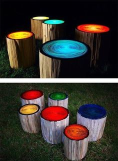 Paint campfire log seats with glow in the dark paint!