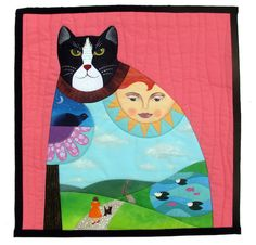 """The Wonderful World Within the Cat"" by Alison J. Ruggiero, Brooklyn, New York.  Cotton fabrics combined with hand painted PFD cotton using acrylic paint with fabric painting medium. Honorable mention, The Animals We Love contest, Alliance for American Quilts - 2015"