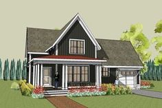 Our Hudson Farmhouse plan features gracious main floor living areas with a Master Suite and has 2 additional bedrooms on the upper floor.  This simple farmhouse design continues our tradition of combining the best of the old and the new.  We have created an open and efficient floor plan and wrapped it with a contemporary farmhouse exterior.  This is one simple, cool, and unique house plan.