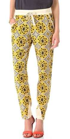 gorgeous printed silk trousers