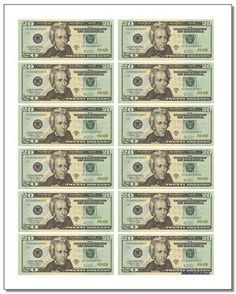 Money worksheets including making change, counting coins, comparing money and printable money PDF pages for first grade, second grade or third grade practice. Money Template, Templates, Payroll Template, Receipt Template, Fake Money Printable, Twenty Dollar Bill, Monopoly Money, Money Pictures, Pics Of Money