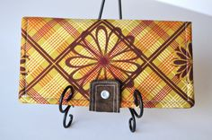 $30.00 Bifold Wallet with Snap and Zipper Pocket Golden Yellow Brown Red Plaid with Flowers