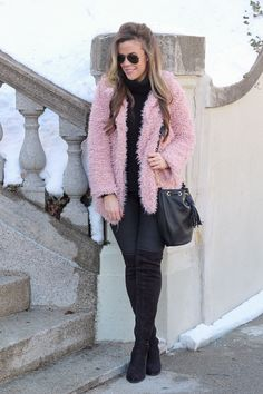 Blush Fluffy Coat II Warm Valentine's Day Look