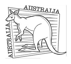 kangaroo happy australia day coloring page for kids