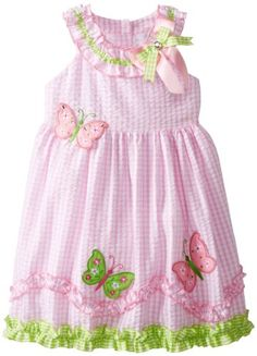 Black Friday Rare Editions Girls Seersucker Butterfly Applique Dress, Pink/White, from Rare Editions Cyber Monday Kids Outfits Girls, Toddler Outfits, Girl Outfits, Little Kid Fashion, Kids Fashion, Toddler Dress, Baby Dress, Little Girl Dresses, Girls Dresses