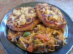 """Crusted eggplant vegan """"parm"""" w/ quinoa flour noodles."""