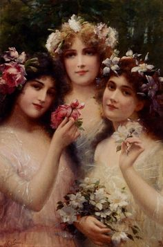 """The Three Graces, Emile Vernon; They are known as goddesses of charm, beauty, nature, human creativity  fertility. They are typically 3, from youngest to oldest: Aglaea (""""Splendor""""), Euphrosyne (""""Mirth""""), and Thalia (""""Good Cheer""""). They were usually considered to be the daughters of Zeus and Eurynome, though they were also said to be daughters of Dionysus and Aphrodite or of Helios  the naiad Aegle."""