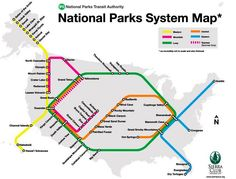 """National Parks System """"Transit Map"""" by Sierra Club"""