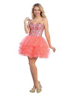 Jewel Accented Bodice Short Prom Dress