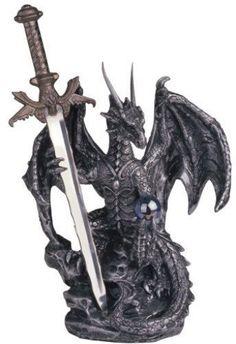Dragon Sword Steel Statue Figurine Fantasy Figure Medieval Home Decor Collection #GeorgeSChenImports
