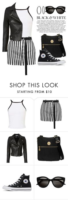 """🏁 BLACK & WHITE 🏁 3876"" by boxthoughts ❤ liked on Polyvore featuring Miss Selfridge, Ann Demeulemeester, IRO, Baggallini, Converse and Bling Jewelry"