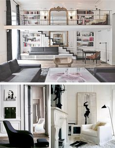 Oh I love the railing and how the lower level has such a great view of the second floor!!!! I also like the the mix of abstract art with a vintage fireplace.