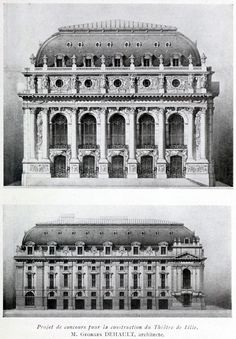 Competition proposal for the new theatre, Lille Sacred Architecture, Baroque Architecture, Classic Architecture, Architecture Drawings, Historical Architecture, Beautiful Architecture, Architecture Details, Neoclassical Architecture, Interesting Buildings