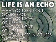 Life is an echo What you send out comes back. What you sow you reap. What you give you get What you see in others exists in you. - Unknown