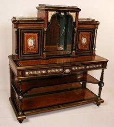 Antique Napoleon III ebony credenza with Sevres plaques - Latique Antiques
