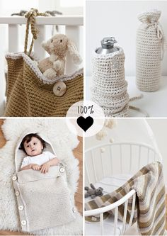 Easy to make, very cute crochet gifts for the nursery - crib storage bag, bunting bag, bottle covers and if you are fast and ambitious, a crib blanket