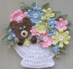 crochet wall hanging flowers