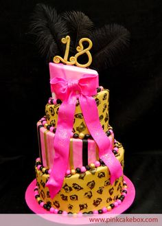 Leopard Print Birthday Cake by Pink Cake Box 18th Birthday Cake For Girls, Luau Birthday Cakes, Brithday Cake, Birthday Ideas, 19th Birthday, Blue Birthday, Hot Pink Cakes, Pink Cake Box, Pretty Cakes