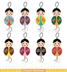 Lucky Dolls Clipart Set by ClipartKitchen on Etsy, $5.00