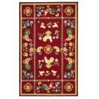 Spring on the Farm Burgundy (Red) 5 ft. 3 in. x 8 ft. 3 in. Area Rug