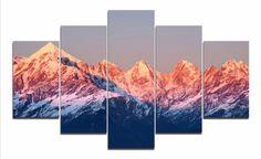 5 Panel Framed Sunset Mountain Landscape Wall Canvas Art - Octo Treasures - 2
