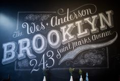 Custom Chalk Lettering by Dana Tanamachi Dana Tanamachi is a graphic designer and custom chalk letterer living in Brooklyn, New York. She takes chalk lettering to the next level creating these beautiful and inspiring pieces of art. Chalkboard Typography, Chalk Lettering, Chalkboard Designs, Typography Letters, Typography Design, Chalkboard Walls, Chalk Fonts, Retro Typography, Chalkboard Decor