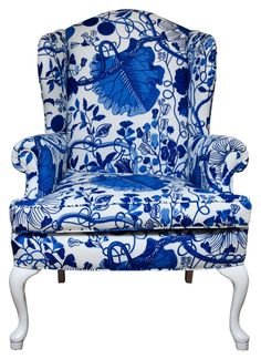 Looks like Delft blue pottery upholstered armchair chinoiserie blue willow Delft, Upholstered Chairs, Wingback Chair, Swivel Chair, Decoration Bedroom, Blue Dream, White China, Take A Seat, Home Living