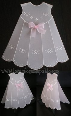 Use embossing templates and vellum to make a vintage baby dress embellishment for your heritage page. Baby Scrapbook, Scrapbook Cards, Vintage Baby Dresses, Parchment Cards, Dress Card, Baby Girl Cards, Shaped Cards, Baby Christening, Card Tutorials