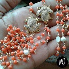 Collar largo doble - Cristales + nacar + perlas + ranitas - Baño de oro y #hsp  #cristales #crystals #cristalli #cristaux #perlas #pearls #perle #perles #nacar #alambrehsp #jewelry #jewelrygram #instajewelry #instagram #instaphoto #loveit