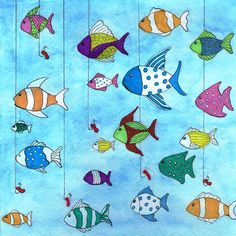 "- Tropical Fishing Art Print "" Tropical Fishing Art Print Best Picture For trends pins For Your T - Colorful Fish, Tropical Fish, Watercolor Cards, Watercolor Paintings, Painted Rocks, Hand Painted, Wooden Fish, Ecole Art, Illustration Art"