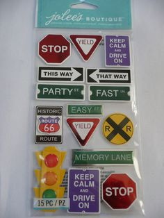 TRAVEL SIGNS - KEEP CALM & DRIVE ON, PARTY LANE, MEMORY LANE - Scrapbooking travel, vacation, road trip layout ideas!! Jolee's Boutique Scrapbooking 3d Stickers by ExpressionsofFaith