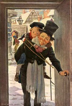 Dickens's Children, Tiny Tim and Bob Cratchit on Christmas Day