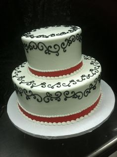 Black and white tiered cake.