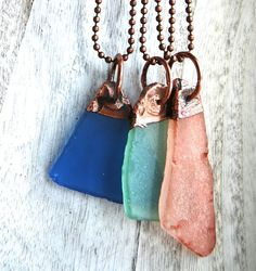 Beach glass necklace  Copper necklace  Organic by LoveandCherish