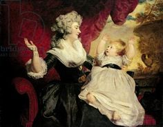 Georgiana, Duchess of Devonshire with her infant daughter Lady Georgiana Cavendish (oil on canvas) Chatsworth house, Derbyshire UK