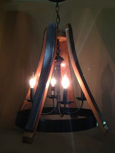 Dulcinea, recycled wine barrel oak staves and metal hoop pendant light, ceiling light, 4 lights Rustic Light Fixtures, Rustic Lighting, Barrel Projects, Bourbon Barrel, Light Decorations, Recycling, Wine Barrels, Ceiling Lights, Hoop