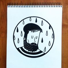 Pablo Contreras. -- Sigue lloviendo #illustration #drawing #art #ink #bearded #ilustracion #dibujo #black #blackandwhite #monday