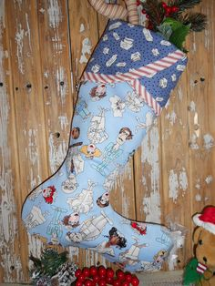 NURSE Christmas Stocking Male or Female Nursing by CottageSewNSew, $29.95