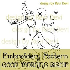 Good Morning Birdie 15018 - Cute Embroidery Pattern - PDF download - Whimsical design