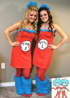 DIY Halloween Costume: A Halloween DIY Thing 1 & Thing 2 Costumes.  Jasmine if we could be anything for halloween at the church i would suggest that we do this!