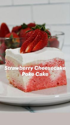 Strawberry Poke Cakes, Strawberry Dessert Recipes, Blueberry Recipes, Summer Desserts, Holiday Desserts, Easy Desserts, Delicious Desserts, Poke Cake Recipes, Cupcake Cakes